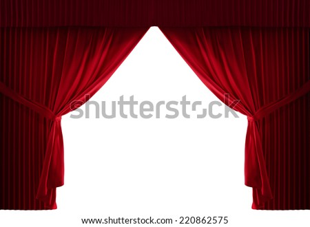 realistic stage curtains with a black background