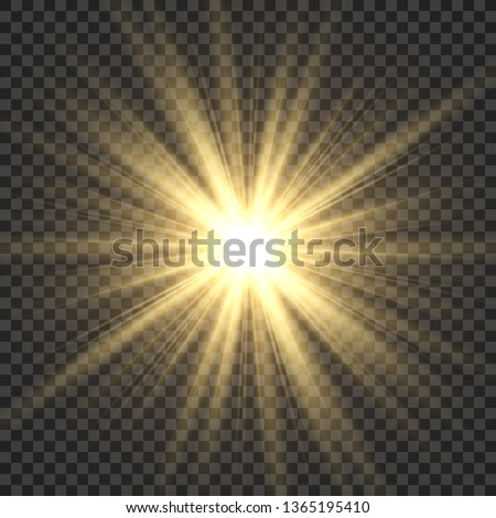 Realistic sun rays. Yellow sun ray glow abstract shine light effect starburst sbeam sunshine glowing isolated illustration
