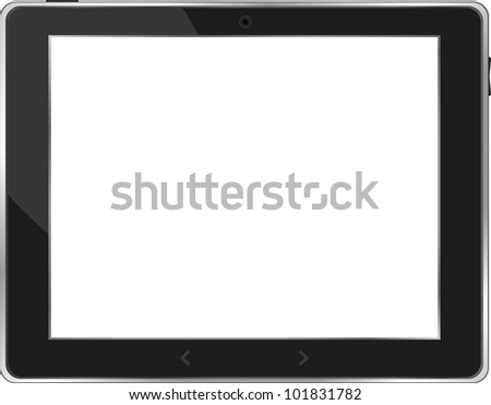 Realistic tablet pc computer with blank screen isolated on white background - raster