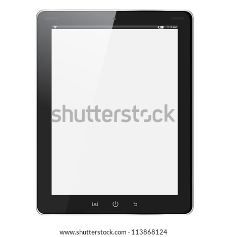 Realistic tablet pc computer with blank screen isolated on white background. Raster copy of illustration