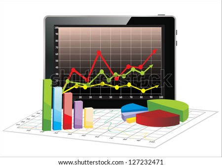 Realistic tablet pc computer with spreadsheet and a paper with statistic 3d charts
