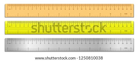 Realistic tape rulers set isolated on white. Plastic, metal and wooden double sided measurement in cm and inches