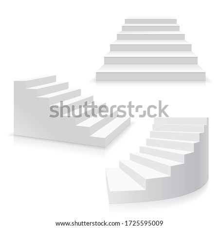 Realistic Template Blank White Staircase or Stairs Set Success Business Concept or Interior Element. 3d illustration stock photo
