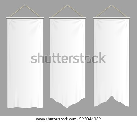 Realistic Textile Banners with Folds Set Blank Empty Mock Up. illustration #593046989