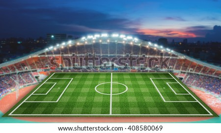 realistic textured grass football, soccer field with blurred stadium background
