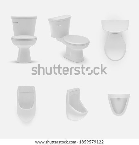 Wall mural Realistic toilet. Mounted and standing model. Bathroom or WC lavatory design template interior. Realistic white ceramic clean hygiene, sanitary toilet bowl item mockup illustration