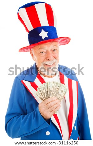 Realistic Uncle Sam smiling and holding a hand full of cash.  Isolated on white.