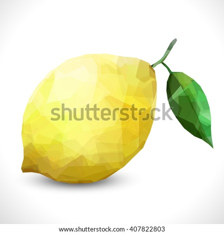 Realistic unusual polygonal isolated Polygonal fruit - Lemon. Modern vector editable template. New transparent lemon unusual illustration eps10 #407822803