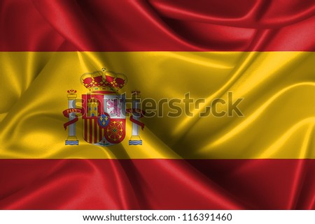 Realistic wavy flag of Spain.