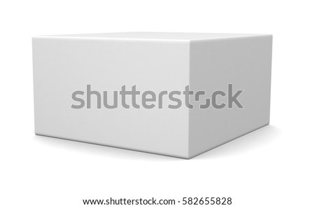 Shutterstock Realistic white blank box isolated on white background. 3d illustration