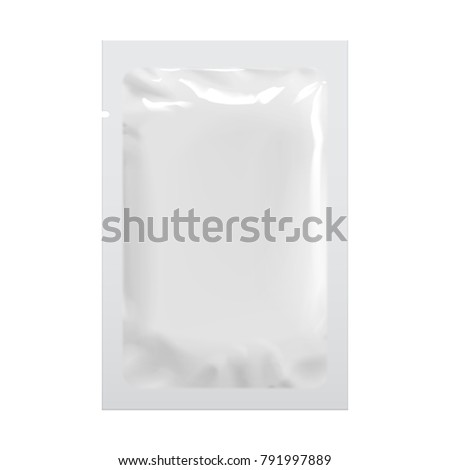 Realistic White Blank template Packaging Foil wet wipes Pouch Medicine. Food Packing Coffee, Salt, Sugar, Pepper, Spices, Sweets. Template For Mock up Your Design.  3D illustration
