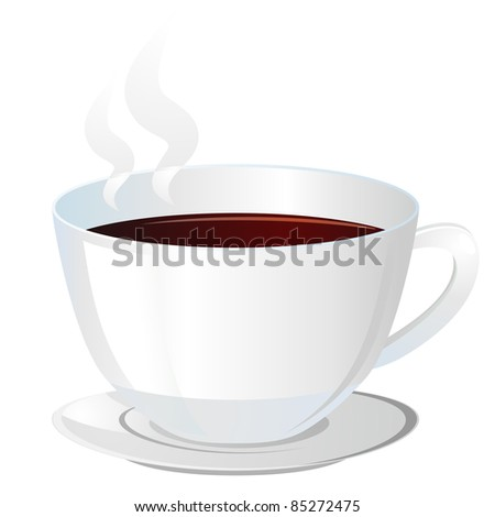 Realistic white cup with hot brown beverage