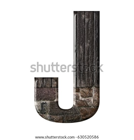 Realistic wood slats and rustic brick textured bold style glossy uppercase or capital letter J illustration with a shiny wooden and stone effect isolated on a white background with clipping path. Stock fotó ©