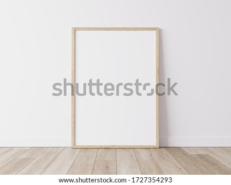 Realistic wooden Blank frame,size A3  A4 on White Wall and wooden floor. Design Template for Mock Up, 3D render, 3D illustration