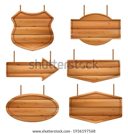 Realistic wooden boards. Advertizing banners with wood texture vintage label or badges Сток-фото ©