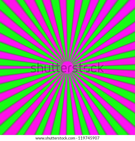 Really bright pink green and purple expanding rays background, abstract