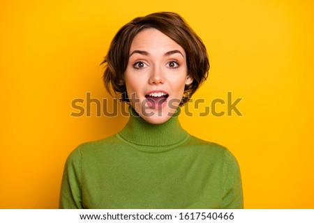 Really? Closeup photo of funny short hairdo lady good mood listen positive news open mouth wear casual green turtleneck warm sweater isolated yellow color background