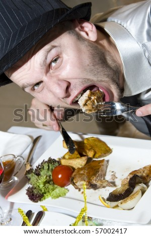 Really hungry man in hat
