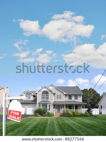 Realtor Red For Sale Sign on Lush Green Landscaped Front Yard Lawn of Large Beautiful Suburban Home in Residential District