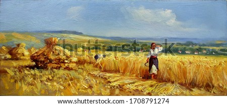 reapers on a wheat field during harvest,fine art, oil painting, agriculture, harvest, summer, sky, nature