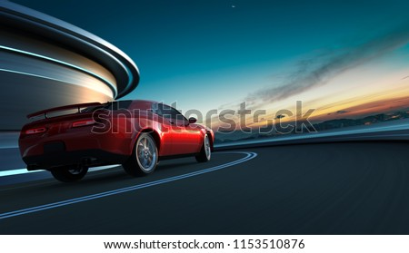 Rear angle view of a generic red brandless American muscle car in a city street road  with motion blur . Transportation concept . 3D Rendering . Mixed media .