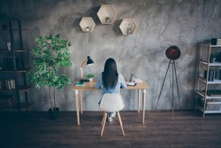 Rear back behind view of her she nice focused busy brunette girl professional copywriter designer student studying remotely education career in modern loft industrial house apartment safe place