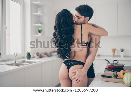 Rear back behind view of his he her she chic lovable attractive married spouses guy satisfying sporty figure slim fit thin perfect wavy-haired lady prelude foreplay seducing in light white interior