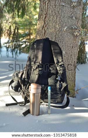 rear backpack next golden metal thermos with drink on halt in winter hike under the tree trunk and Mercury thermometer in the snow showing negative temperature Celsius