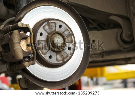 Rear brake system of car.