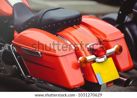 rear of a classic motorcycle, stylish rear view, close-up. #1031270629