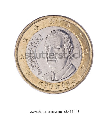 Rear of One Euro Coin Isolated on White Background - stock photo