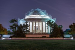 Rear of the Thomas Jefferson Memorial, with scaffolding in place as a part of the Roof Restoration at Dusk, in  Washington D.C., USA