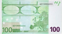 Rear part of 100 euro banknote close-up with small green details