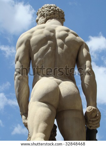rear part of Hercules statue by Baccio Bandinelli in Florence, Italy, Europe