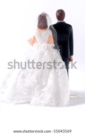 Rear side of wedding dolls