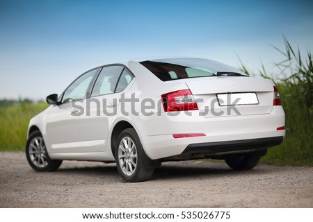 "stock photo rear side view of a car on nature background 535026775 - Каталог - Фотообои ""Автомобили"""