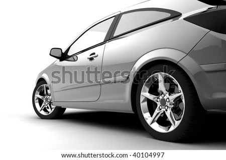 Rear-side view of a car on white - stock photo