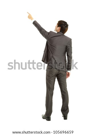 rear view businessman finger pointing