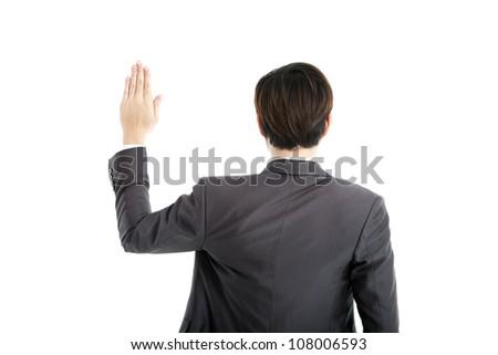 rear view businessman swearing