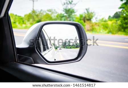 Rear view mirror car on the road, stop car #1461514817