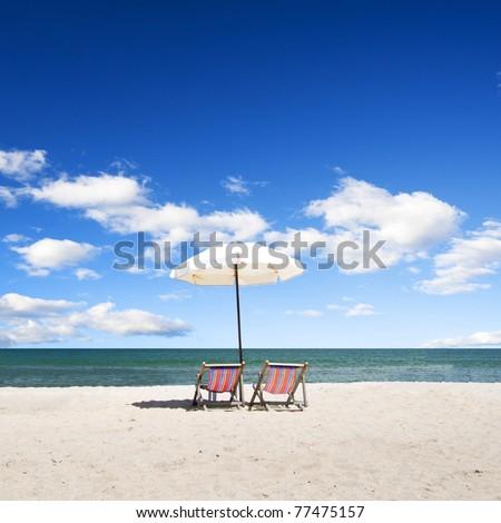 Rear view of a beach chair on the beach