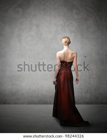 Rear view of a beautiful elegant woman - stock photo