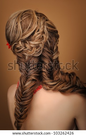 Rear view of a beautiful woman with elegant elaborate hairstyle
