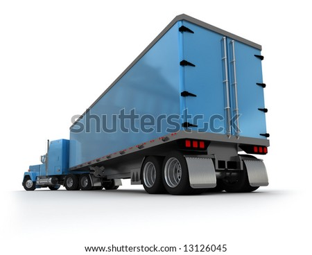 Rear view of a big blue trailer truck against white background