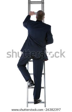 Rear view of a businessman wearing a blue suit climbing a ladder