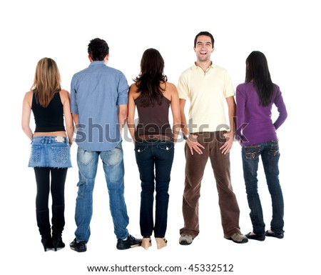 Rear view of a casual group of people with a man facing the camera - isolated
