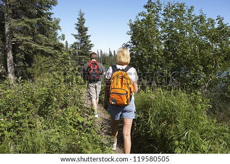 Rear view of a couple with backpack walking along forest trail - stock photo