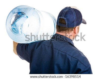 Rear view of a delivery man with a five gallon jug of drinking water over his shoulder.  Isolated on white. - stock photo