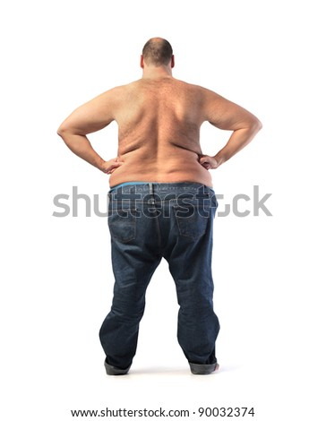 Rear view of a fat bare-chested man