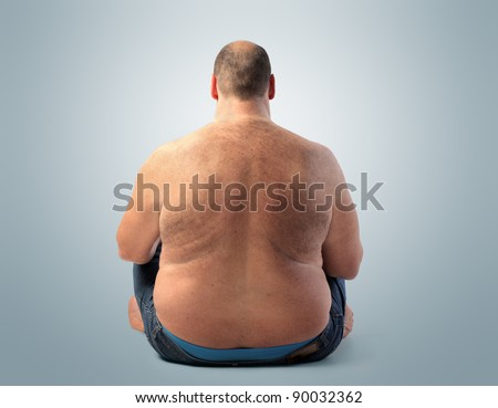 Rear view of a fat man